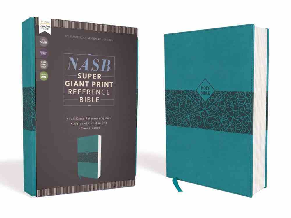 NASB Super Giant Print Reference Bible Teal 1995 Text (Red Letter Edition) Premium Imitation Leather