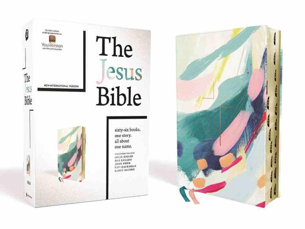 NIV Jesus Bible Artist Edition Multi-Color/Teal Thumb Indexed Premium Imitation Leather