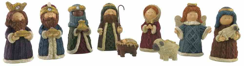 Resin Knitted Finish Nativity Set of 9 Colored Homeware