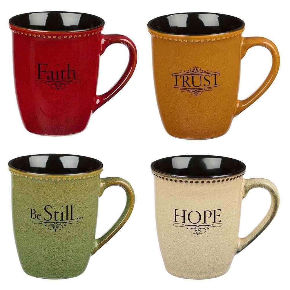 Ceramic Mugs 384 ML: Faith, Trust, Hope, Be Still (Set Of 4) Homeware