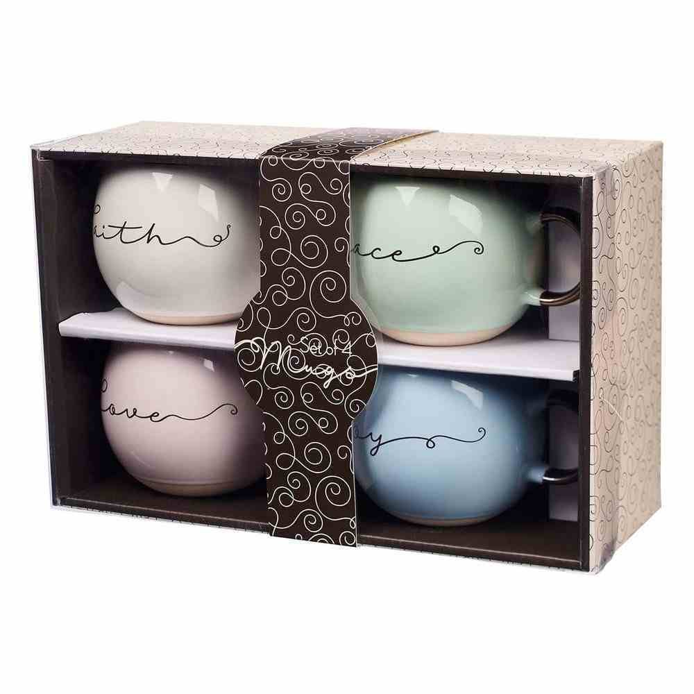 Ceramic Mugs 444 ML: Faith, Grace, Love, Joy (Set Of 4) Homeware