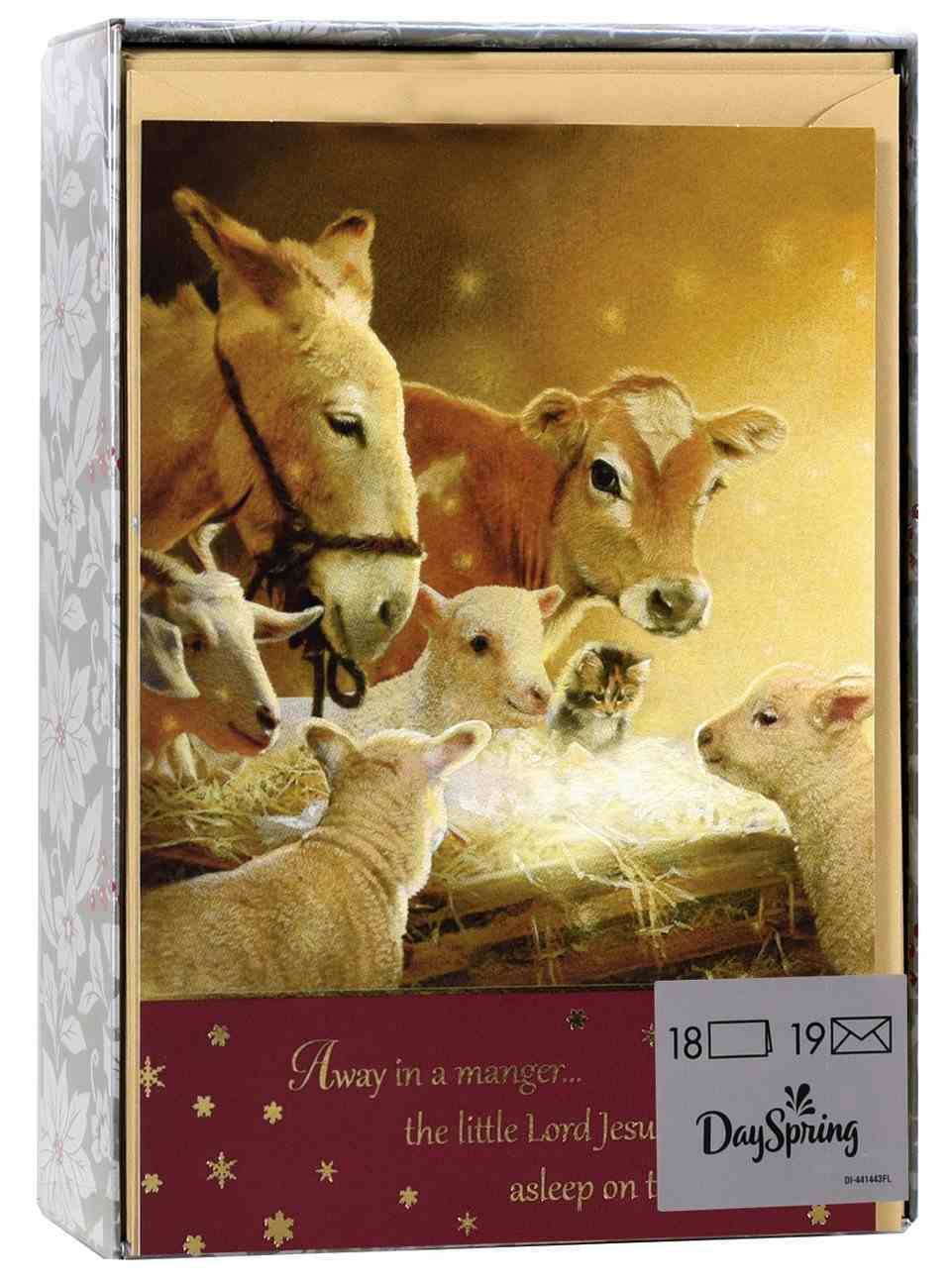 Christmas Boxed Cards: Away in a Manger Animals (Luke 2:11 Nlt) Box