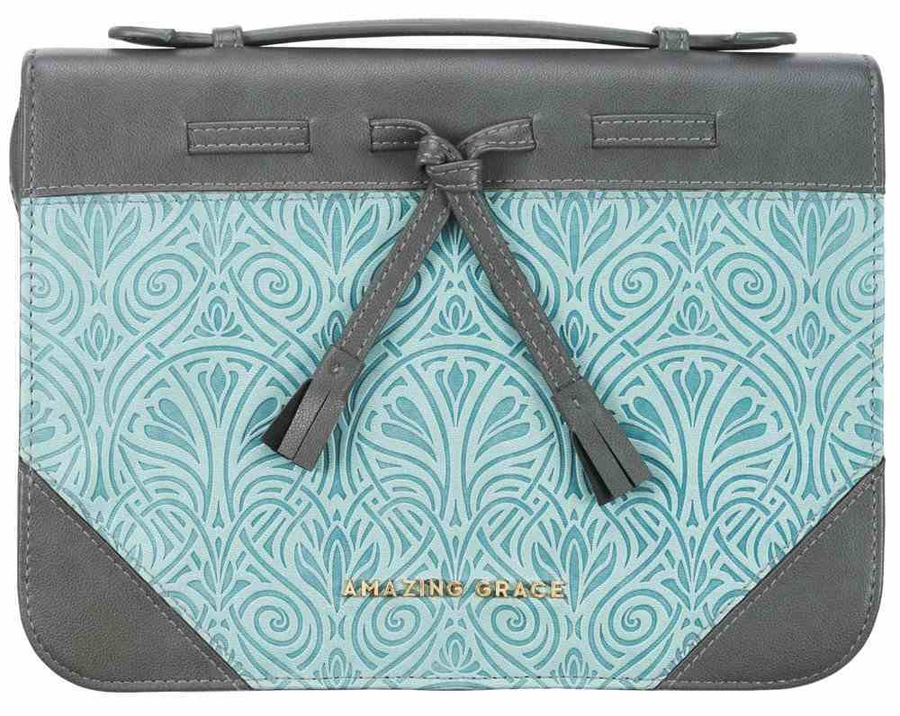 Bible Cover Large: Amazing Grace, Gray and Turquoise Imitation Leather