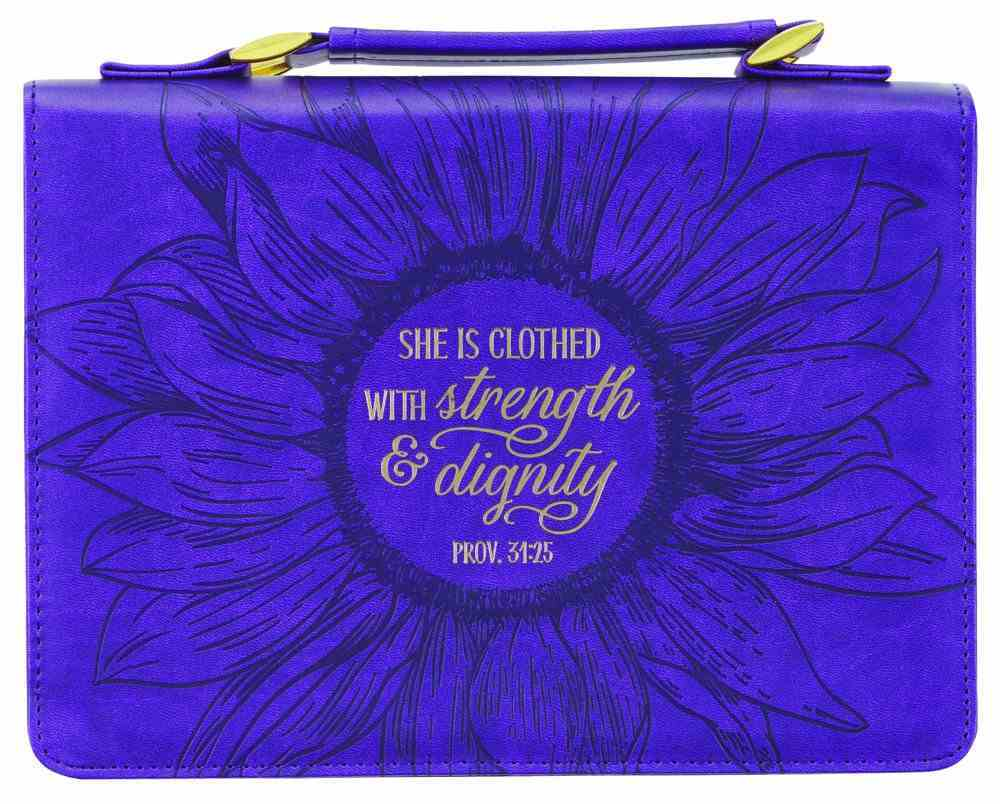 Bible Cover Large: She is Clothed Purple (Proverbs 31:25) Imitation Leather