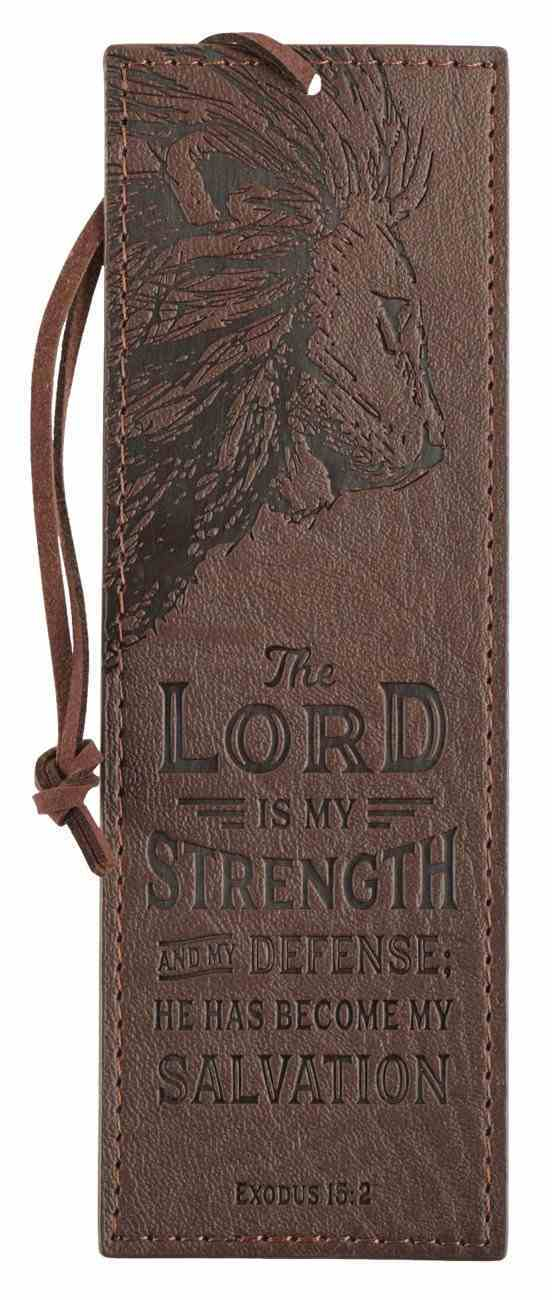 Bookmark With Tassel: The Lord is My Strength Brown (Exodus 15:2) Imitation Leather