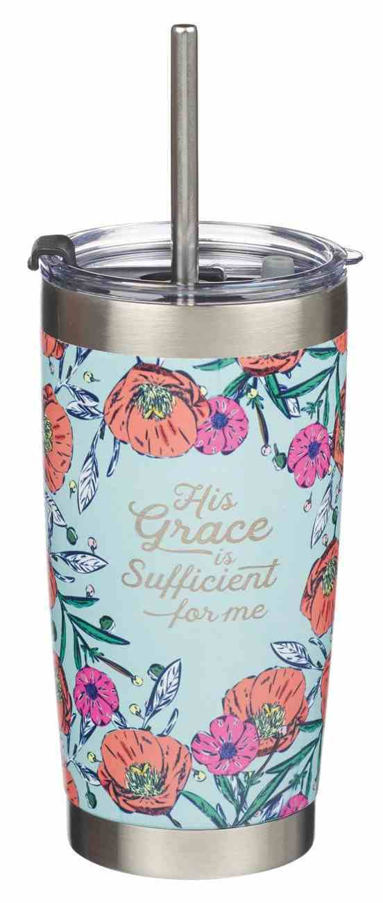 Stainless Steel Travel Mug With Straw: His Grace is Sufficient (2 Cor. 12:9) Poppies (532 Ml) Homeware