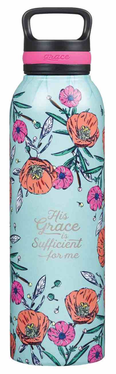 Stainless Steel Water Bottle: His Grace is Sufficient (2 Cor. 12:9) Poppies (710ml) Homeware