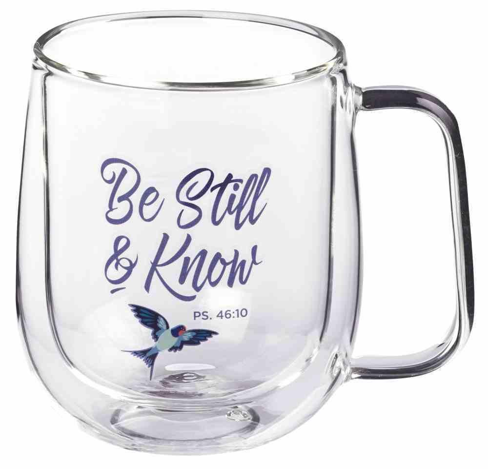 Glass Mug: Be Still and Know (Psalm 46:10) Clear/Birds (296 Ml) Homeware