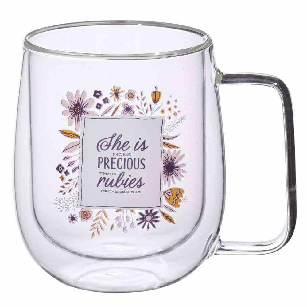 Glass Mug: She is More Precious (Proverbs 3:15) Clear/Multi (296 Ml) Homeware