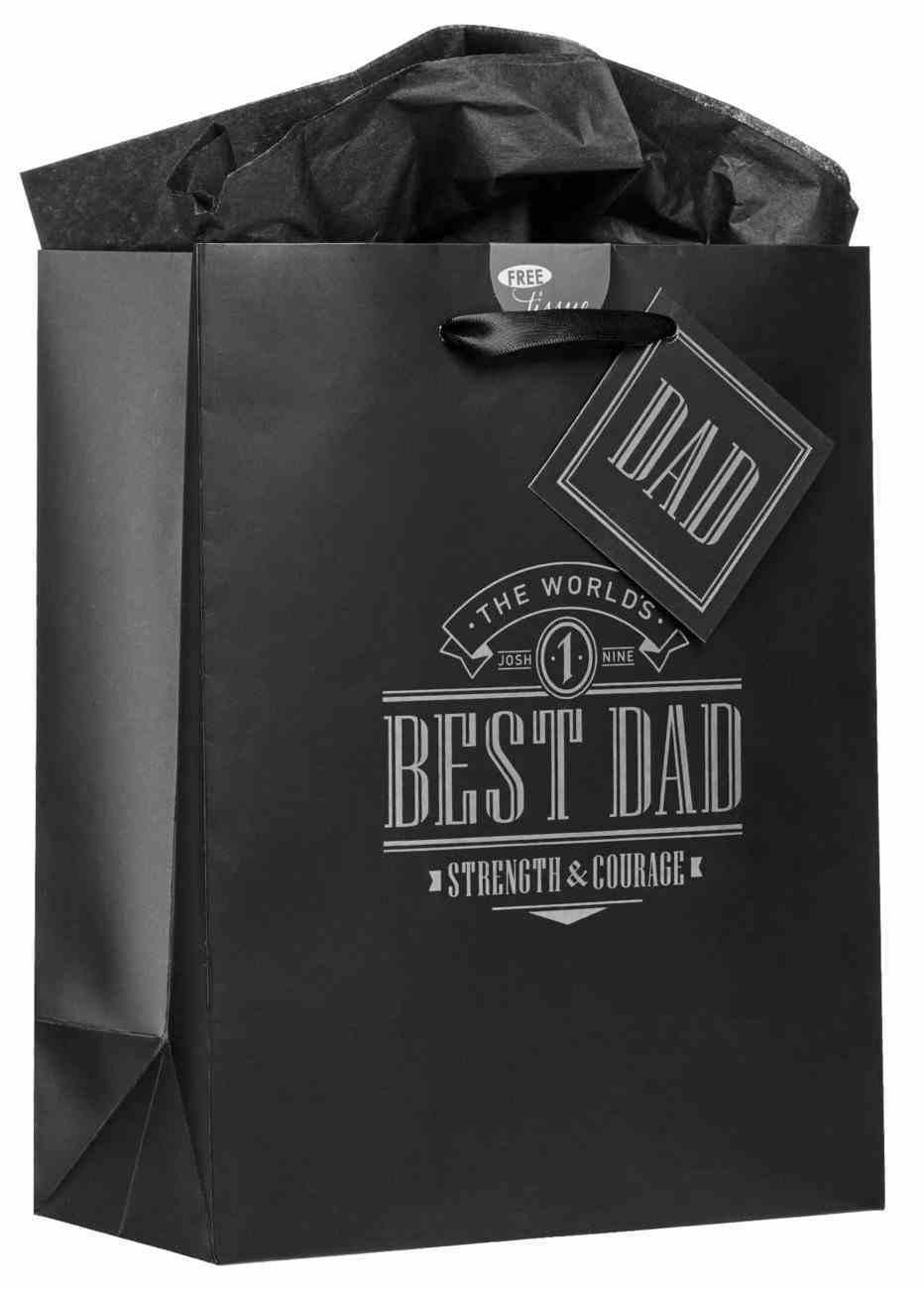 Gift Bag Medium: Best Dad Black (Joshua 1:9) Stationery
