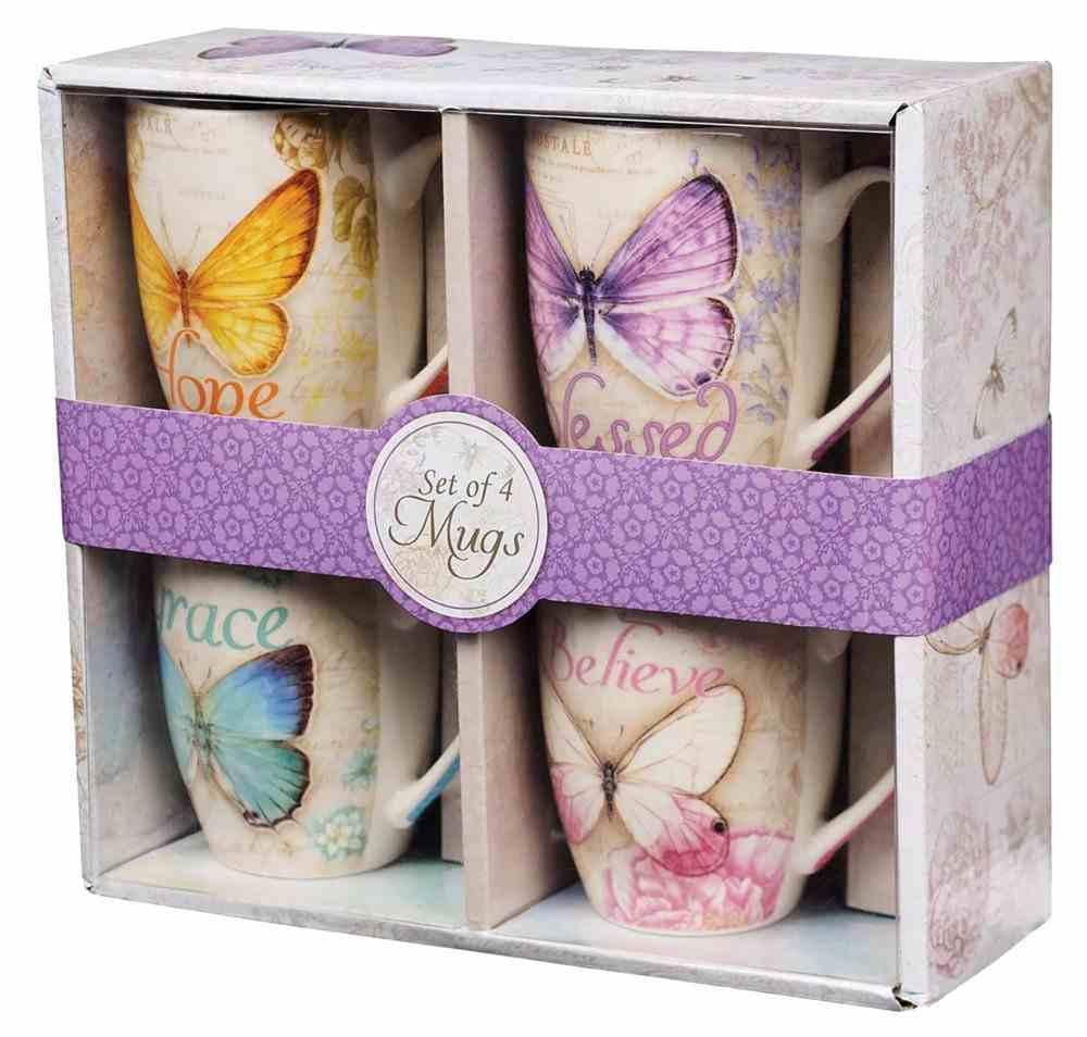 Ceramic Mugs 355ml: Butterflies (Set Of 4) Homeware