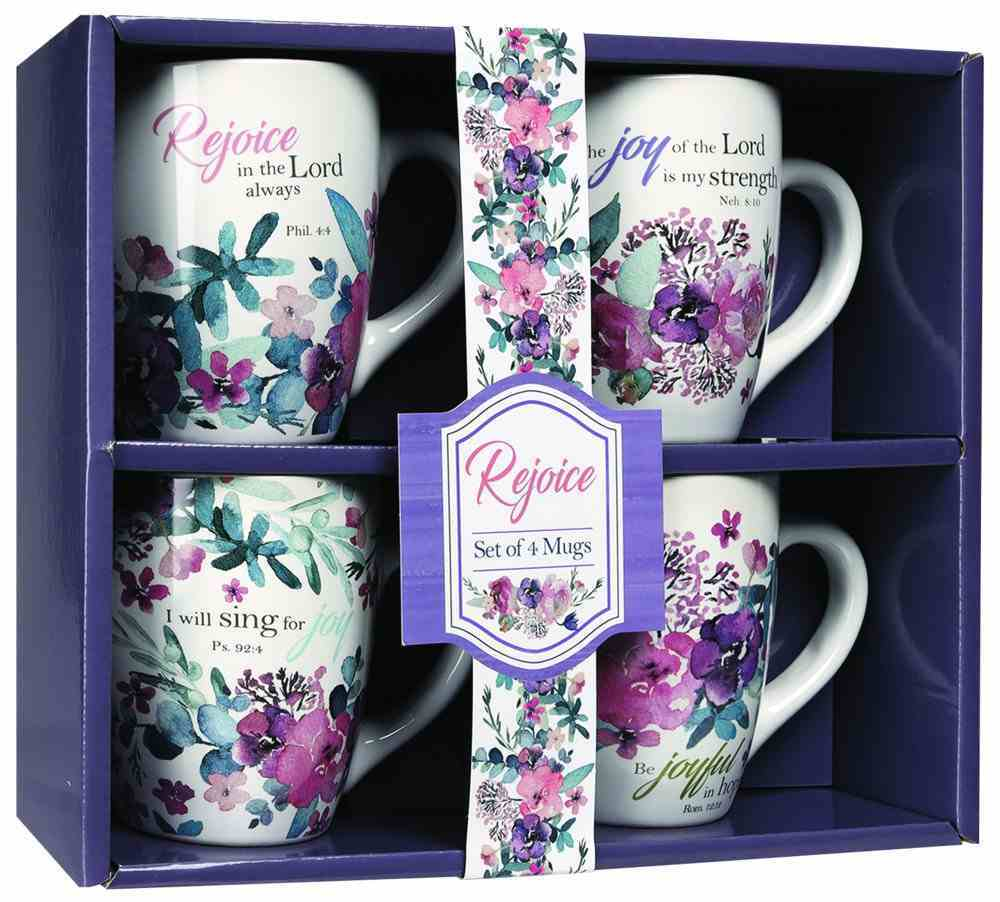 Ceramic Mugs 325ml: Floral, Rejoice Collection (Set Of 4) Homeware