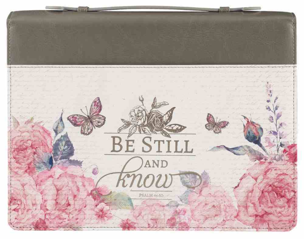 Bible Cover Large: Be Still Pink Butterfly (Psalm 46:10) Imitation Leather