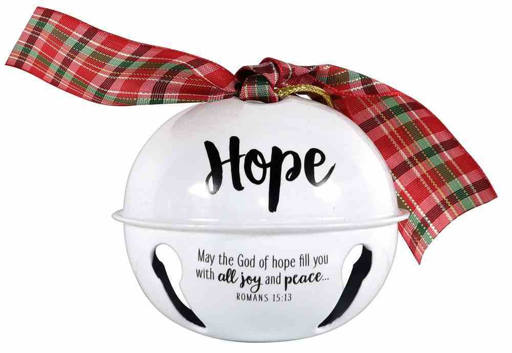 Metal Jingle Bell Ornament: Hope, White With Plaid Bow Homeware