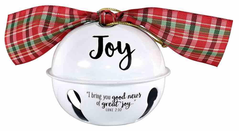 Metal Jingle Bell Ornament: Joy, White With Plaid Bow Homeware