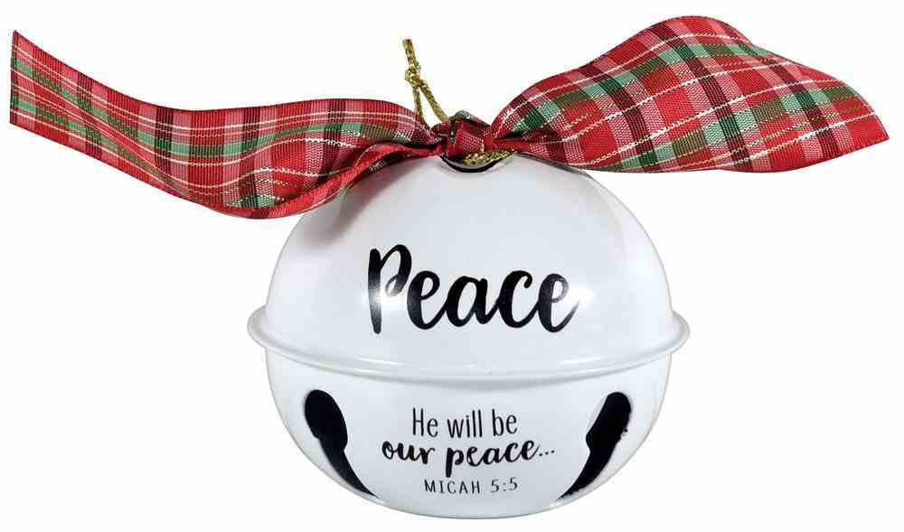 Metal Jingle Bell Ornament: Peace, White With Plaid Bow Homeware