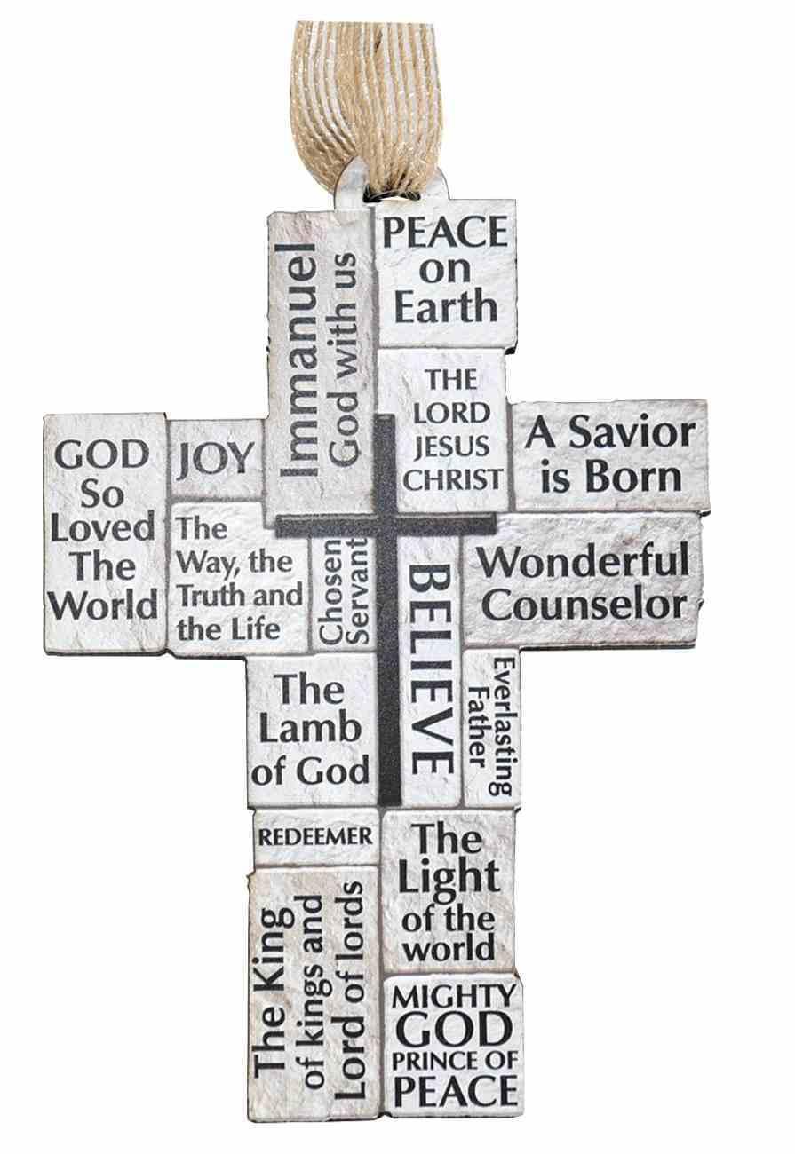 Cross Ornament: Stacked Scripture Homeware