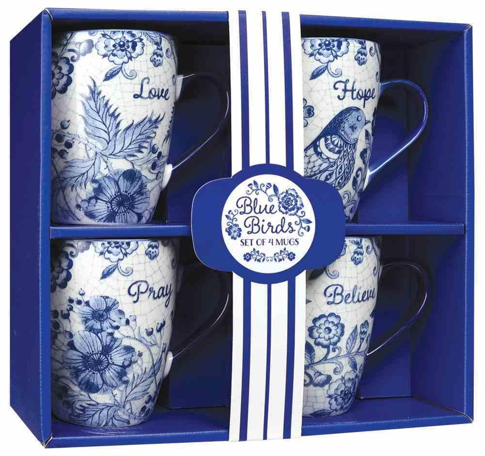 Ceramic Mugs 355ml: Blue Floral, Hope Pray Believe Love (Set Of 4) Homeware