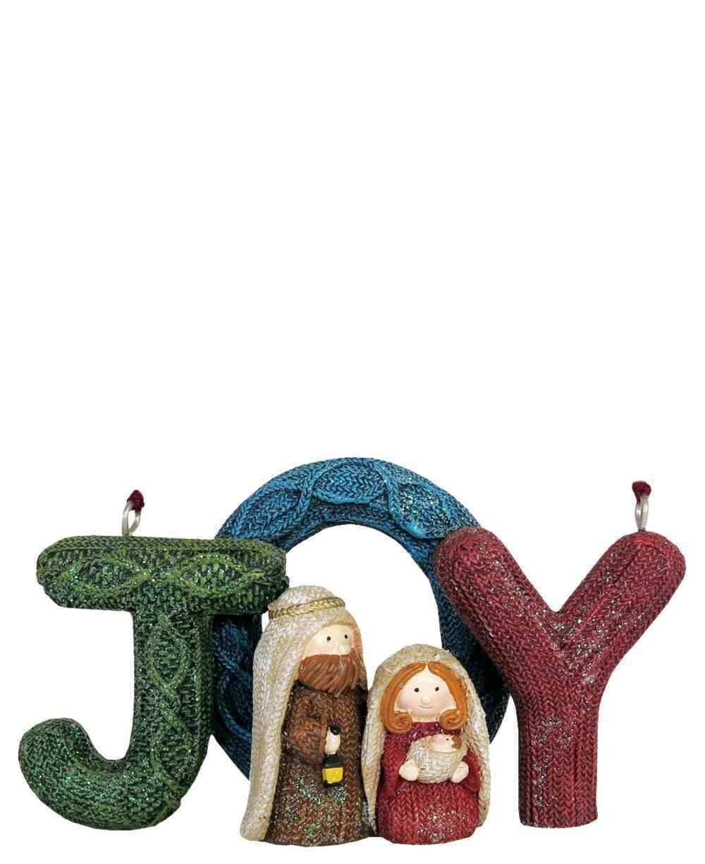 Resin Knitted Finish Holy Family Tree Ornament: Joy, Coloured Homeware