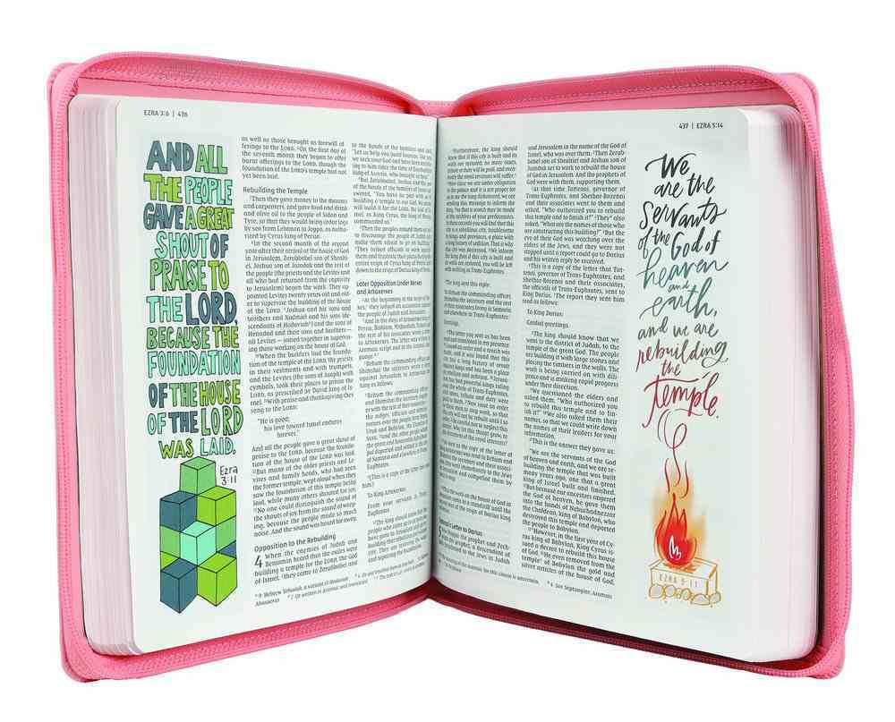 NIV Beautiful Word Bible For Girls Zippered Pink (Red Letter Edition) Premium Imitation Leather