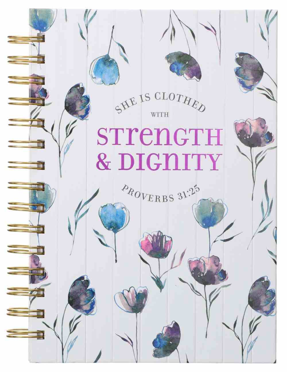 Journal: She is Clothed With Strength White/ Blue Floral (Proverbs 31:25) Spiral