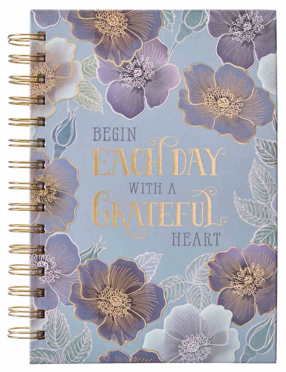 Journal: Grateful Heart, Blue Floral Spiral