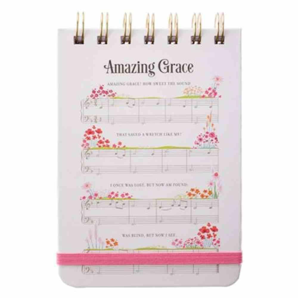 Notepad: Amazing Grace, White Sheet Music/Flowers Spiral