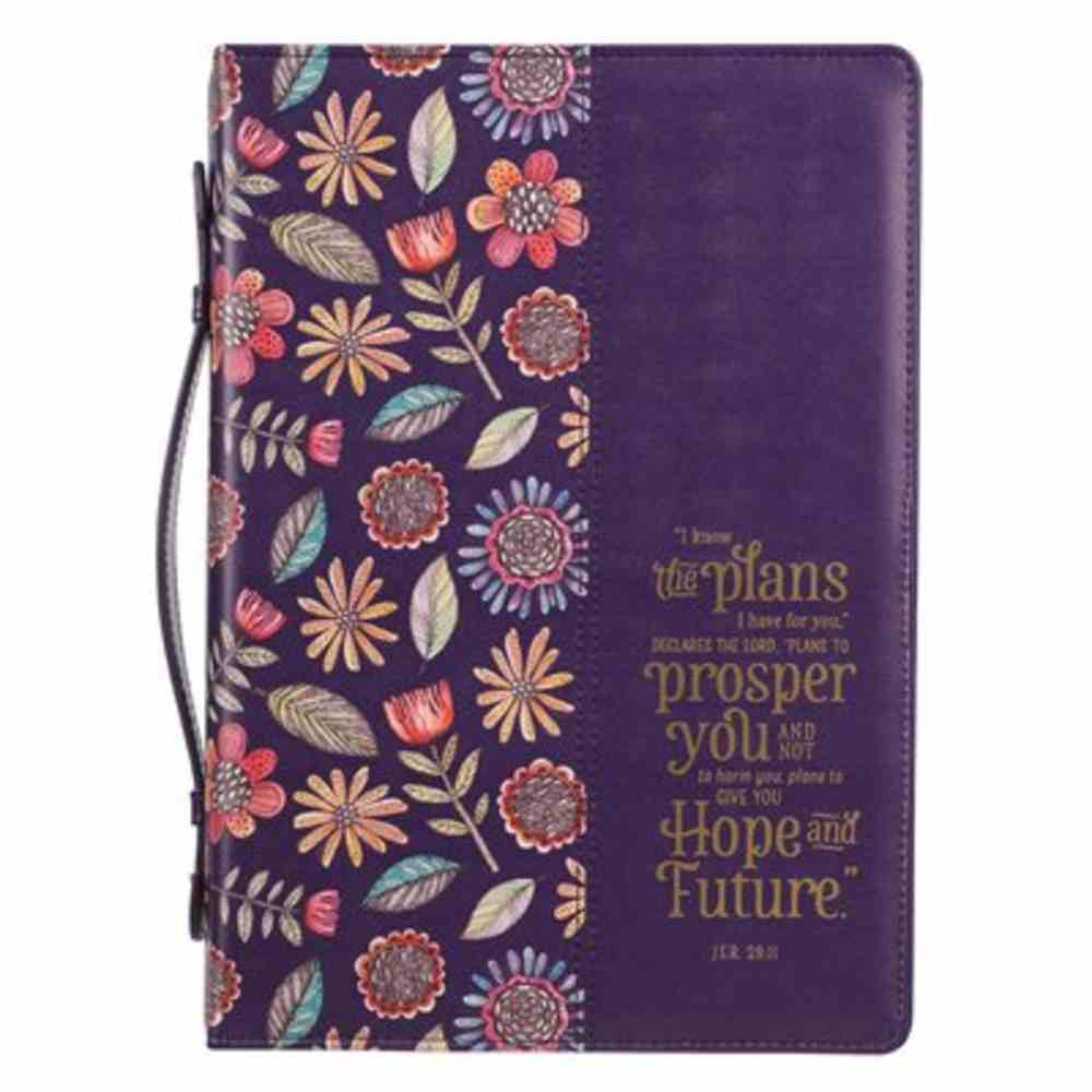 Bible Cover Large: I Know the Plans Purple Floral (Jer. 29:11) Imitation Leather