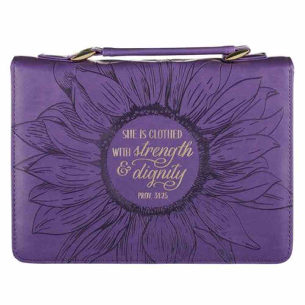 Bible Cover Medium: She is Clothed Purple (Proverbs 31:25) Imitation Leather