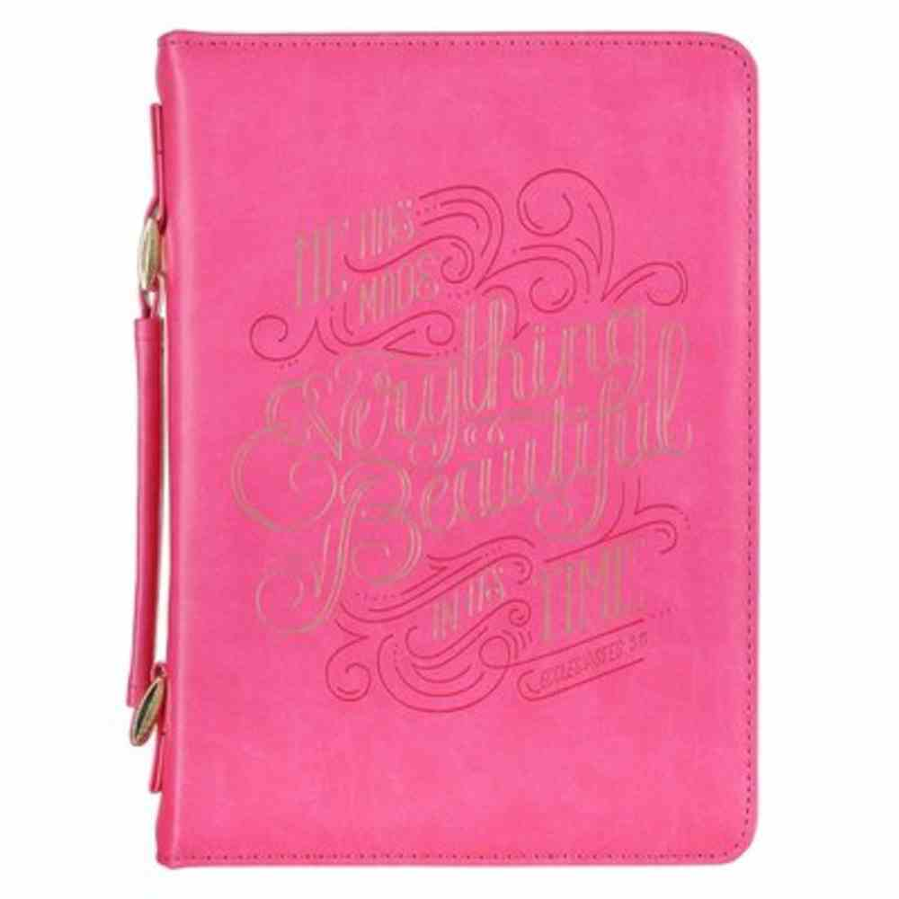 Bible Cover Large: Everything is Beautiful Pink (Ecc. 3:11) Imitation Leather