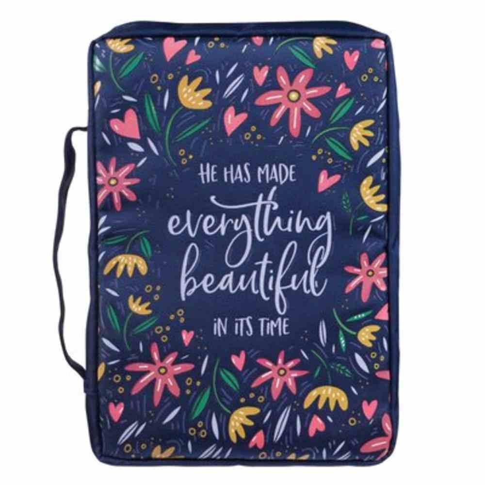 Bible Cover Medium: Everything Beautiful Navy (Ecc 3:11) Fabric