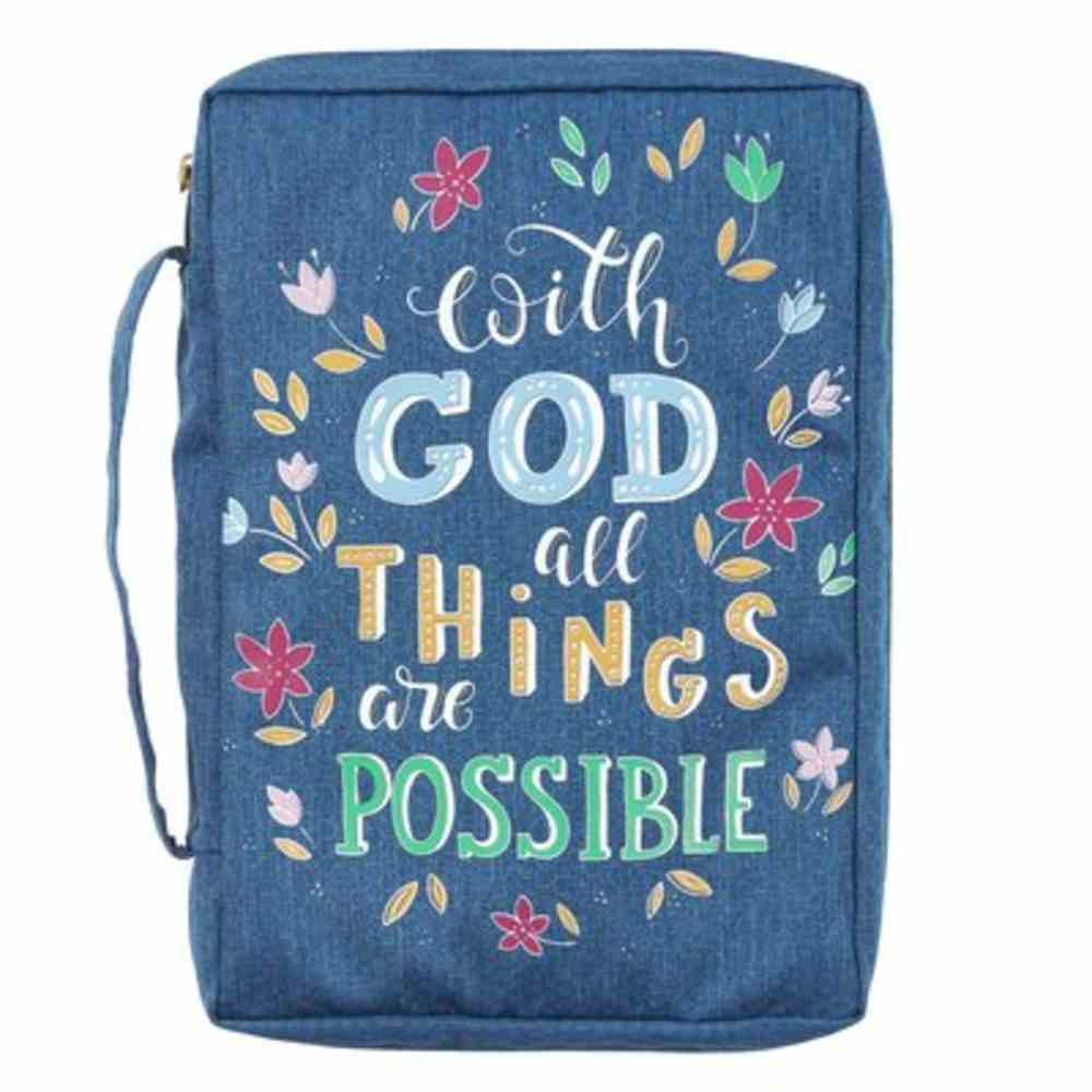 Bible Cover Medium: With God All Things Navy (Matthew 19:26) Fabric