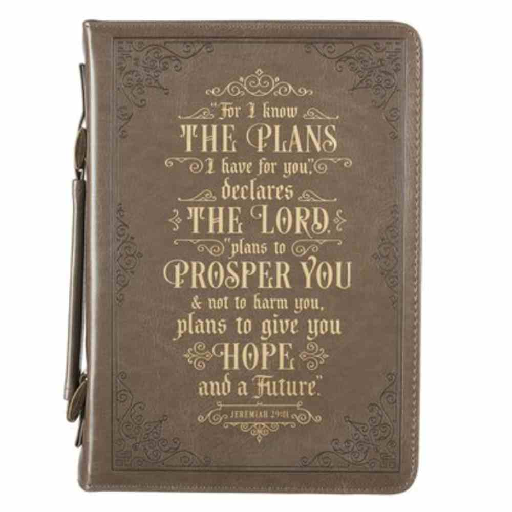 Bible Cover Large: I Know the Plans Taupe (Jer. 29:11) Imitation Leather