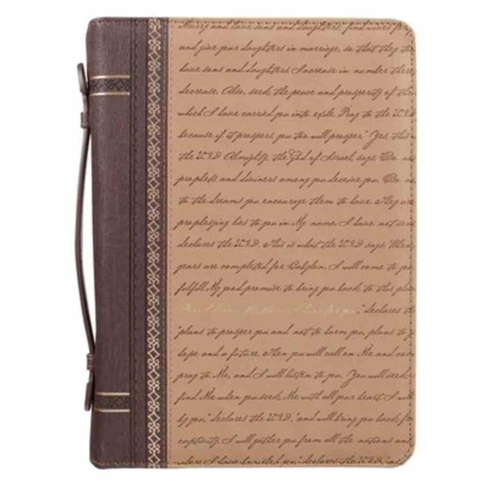 Bible Cover Large: For I Know the Plans Script Brown/Tan (Jer 29:11) Imitation Leather
