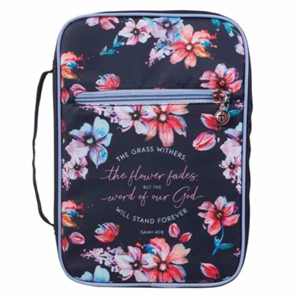 Bible Cover Large: The Grass Withers Navy Floral (Isaiah 40:8) Fabric