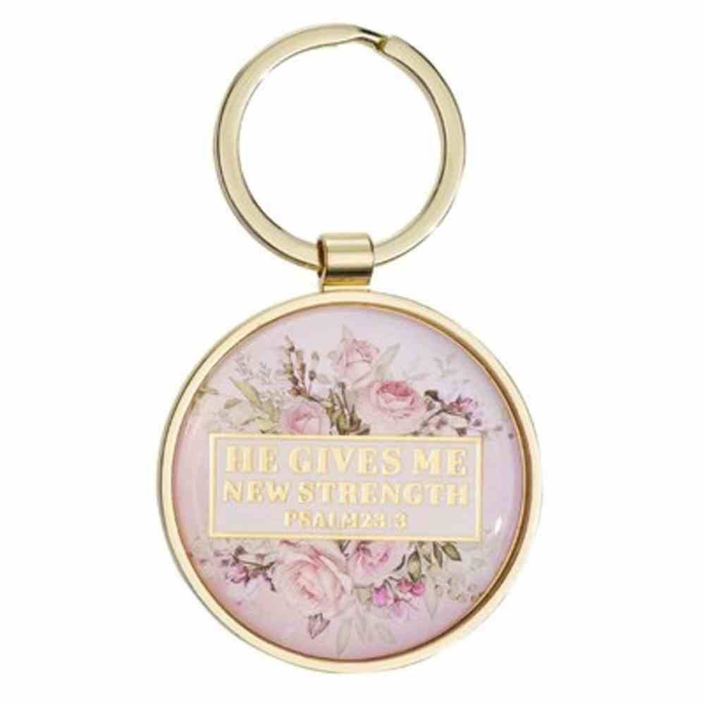 Metal Keyring: He Gives Me New Strength Cream Floral (Psalm 23:3) Jewellery