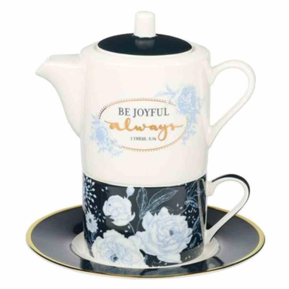 Ceramic Tea For One Set: Be Joyful Always (1 Thess.5:16) White/Navy/Blue (Pot 420 Ml, Cup 250 Ml, Saucer) Homeware