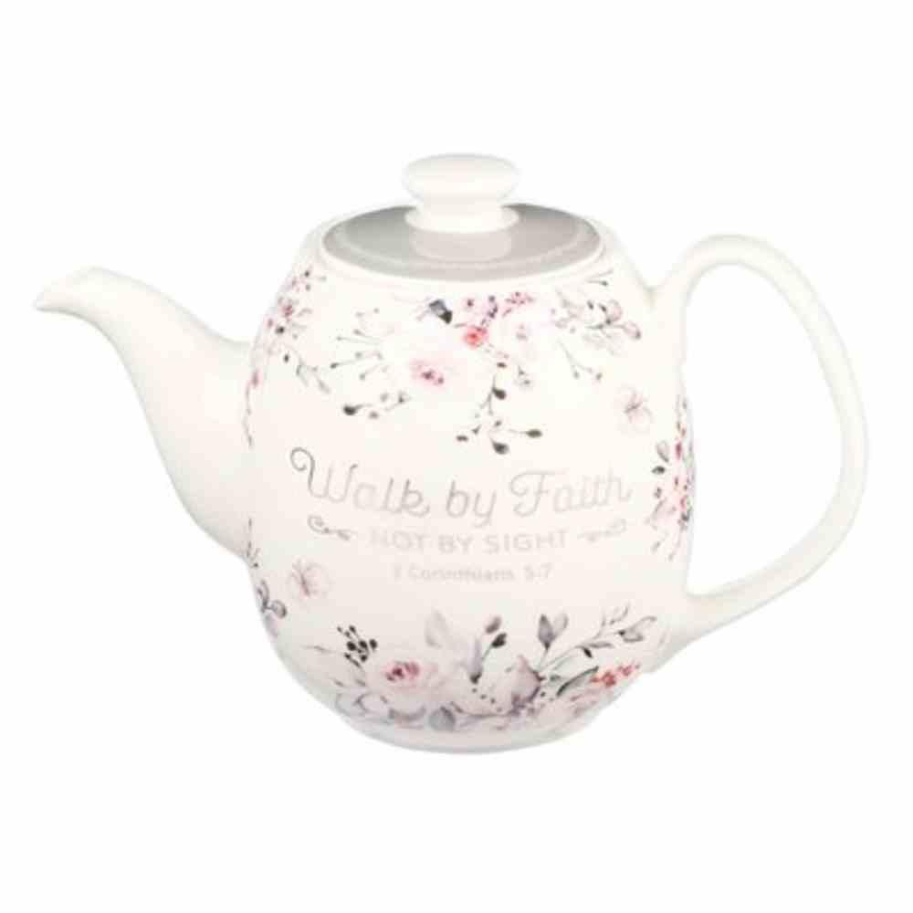 Ceramic Teapot: Walk By Faith (2 Cor. 5:7) White/Grey/Charcoal (1006 Ml) Homeware