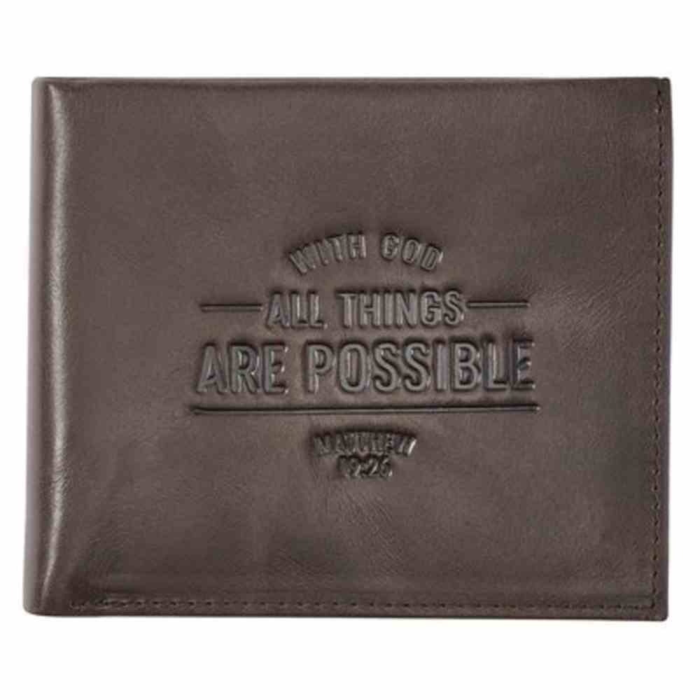 Leather Wallet: With God All Things Are Possible (Matthew 19:26) Genuine Leather