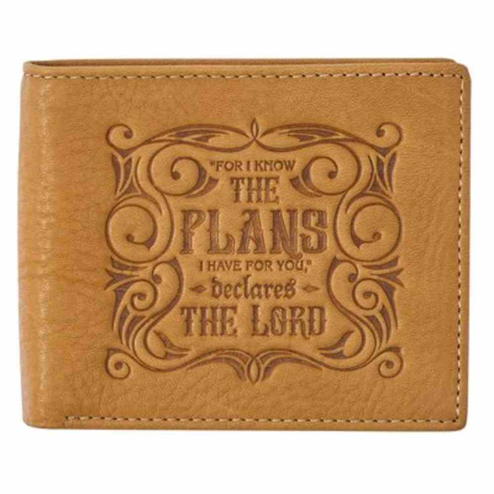 Leather Wallet: I Know the Plans Tan (Jer 29:11) Genuine Leather