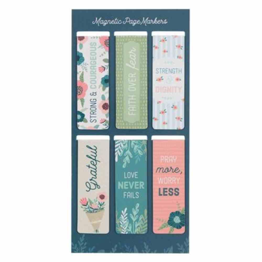 Bookmark Magnetic: Floral Garden (Set Of 6) Stationery