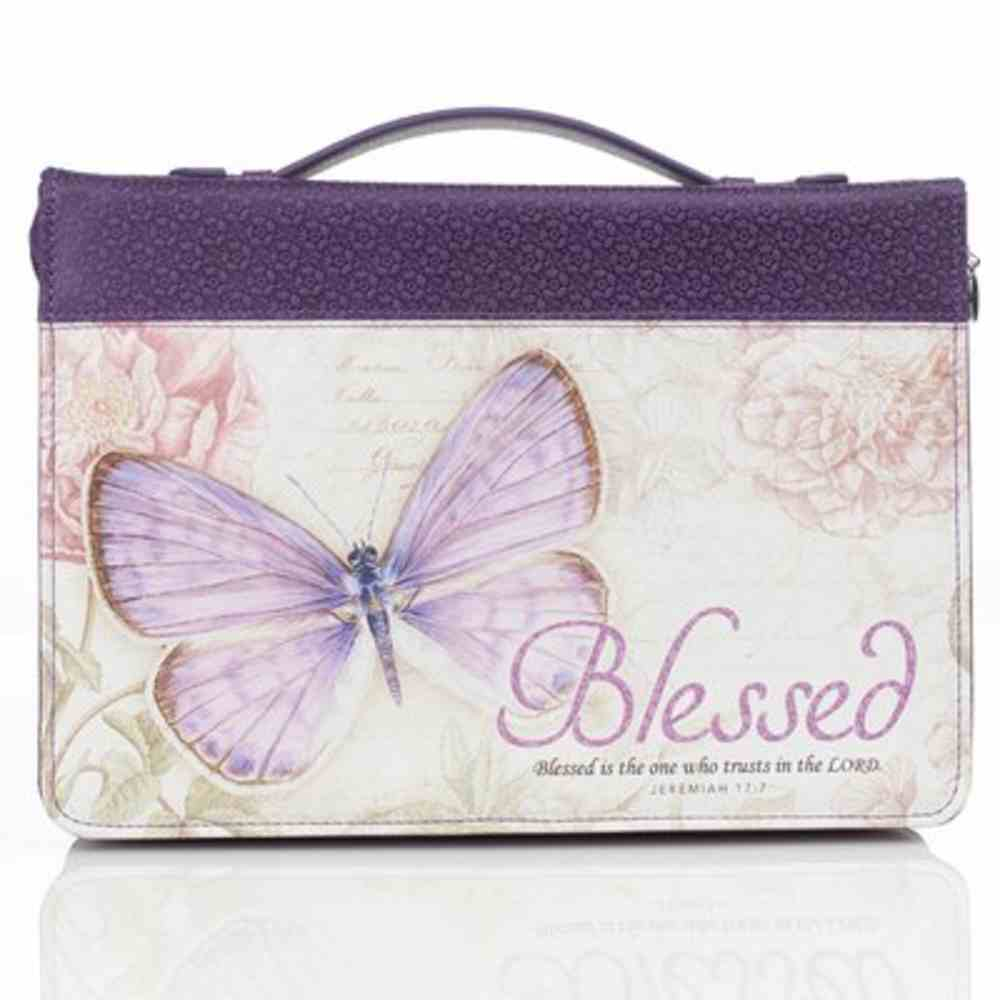 Bible Cover Extra Large: Blessed Purple Butterfly (Jer 17:7) Imitation Leather