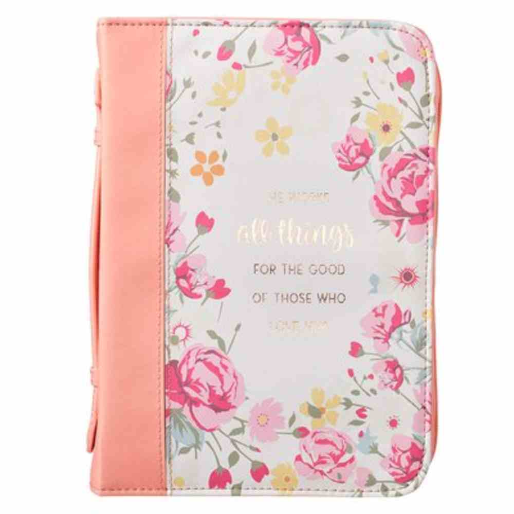 Bible Cover Extra Large: All Things Peach (Romans 8:28) Imitation Leather