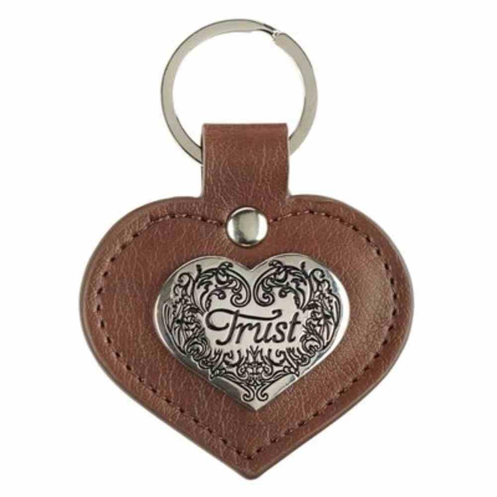 Metal Keyring: Trust, Heart Shaped, Brown Backing Jewellery