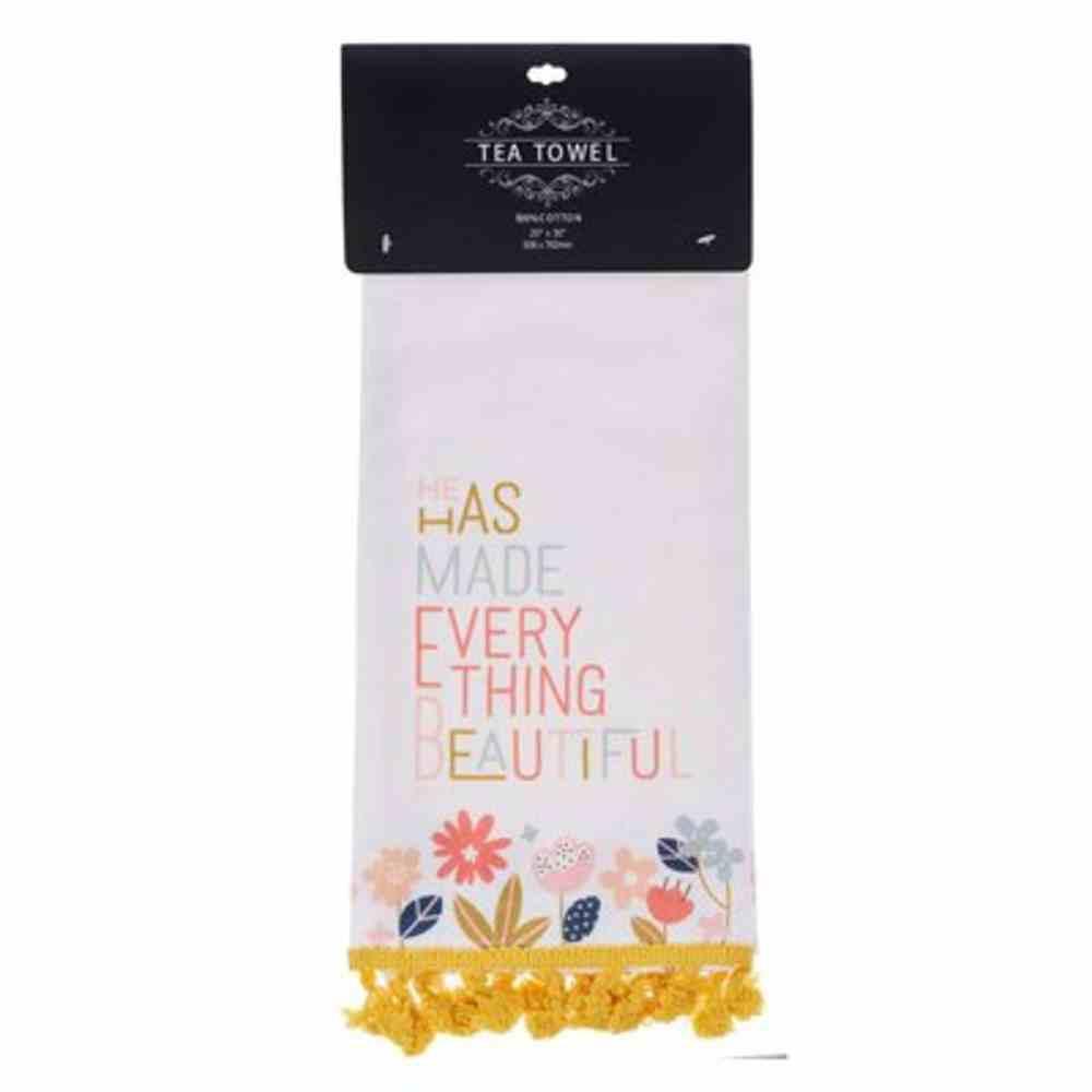 Tea Towel: He Has Made Everything Beautiful Yellow Tassels (Ecc. 3:11) Homeware