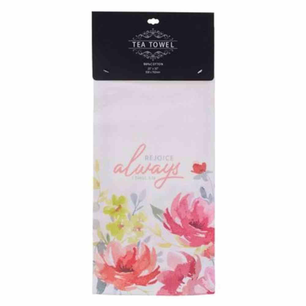 Tea Towel: Rejoice Always Pink Floral (1 Thess. 5:16) Homeware