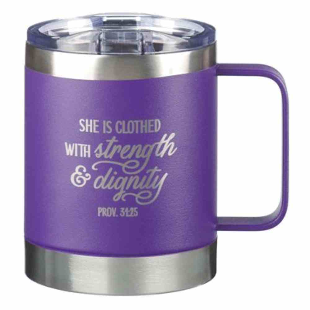 Stainless Steel Travel Mug: She is Clothed With Strength (Proverbs 31:25) Purple (325ml) Homeware