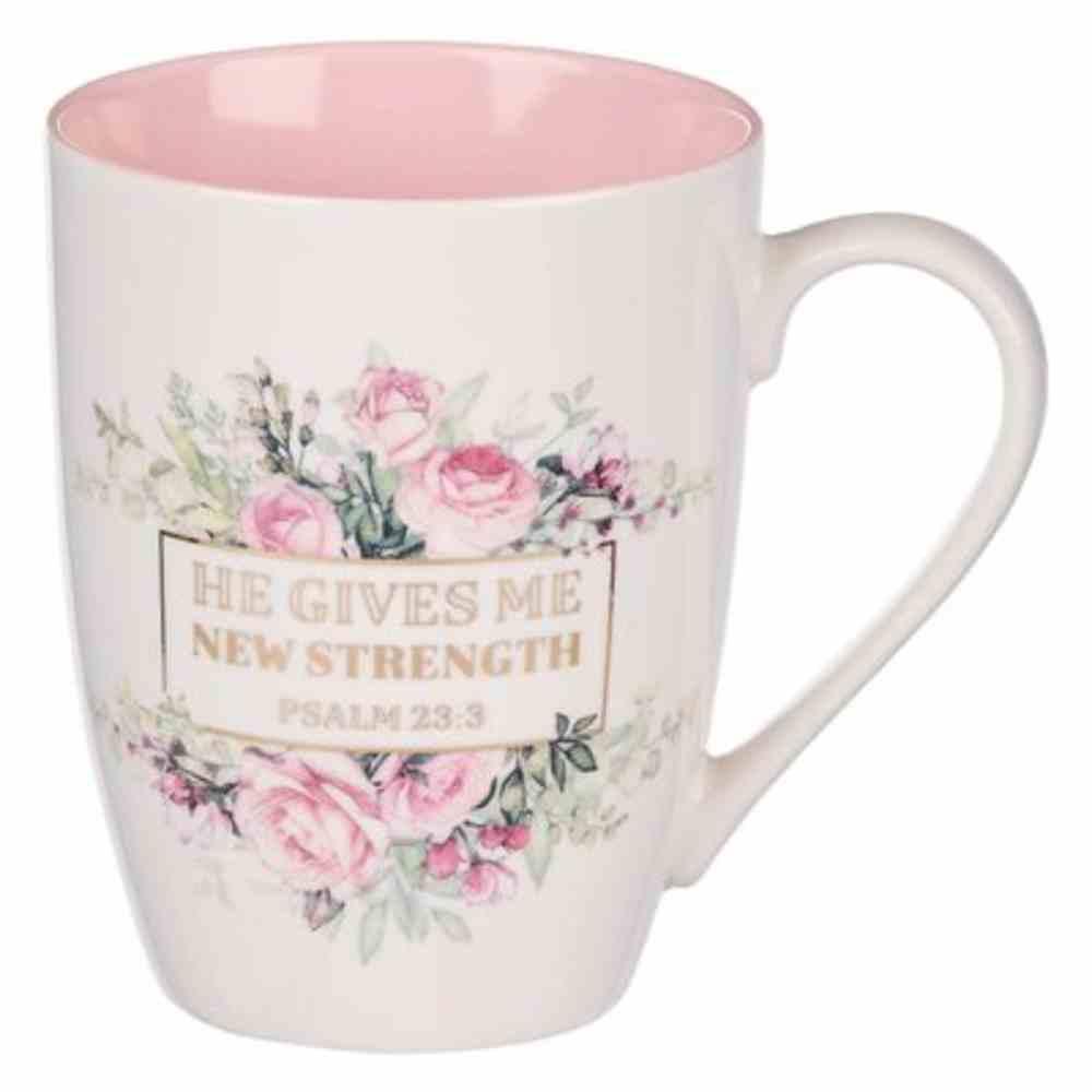Ceramic Mug: New Strength (Psalm 23:3) Pink Floral (355 Ml) Homeware