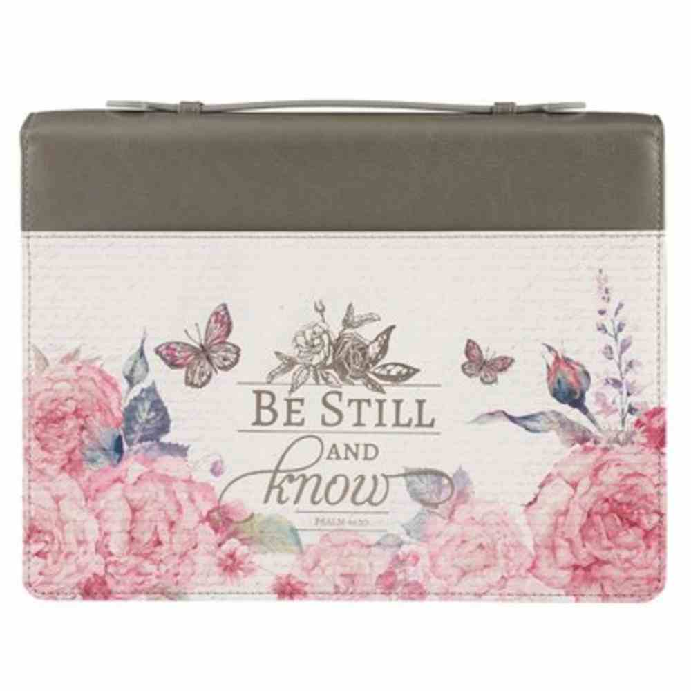 Bible Cover Medium: Be Still Pink Butterfly (Psalm 46:10) Imitation Leather