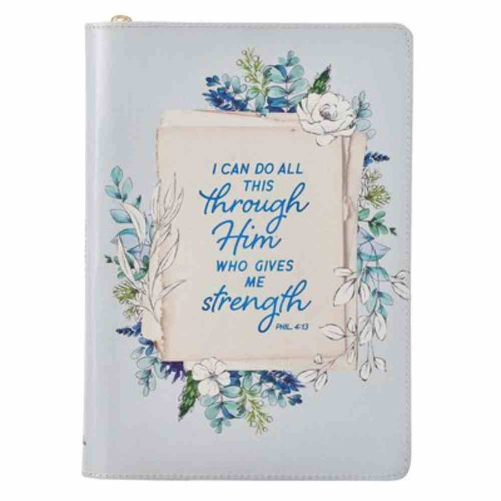 Journal: All Things Blue Floral (Phil 4:13) Imitation Leather